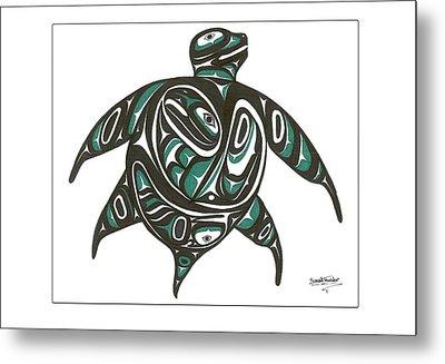 Sea Turtle Green Metal Print by Speakthunder Berry