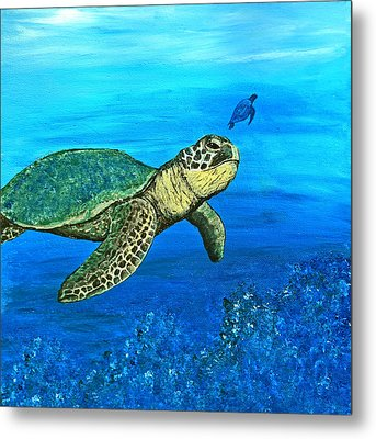 Sea Turtle Metal Print by Sabrina Zbasnik