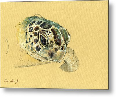 Sea Turtle Watercolor Metal Print by Juan  Bosco