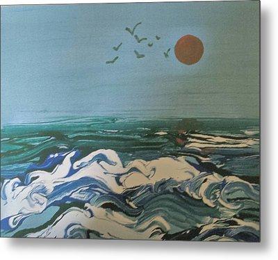 Sea Waves At Sunset Metal Print by B L Qualls