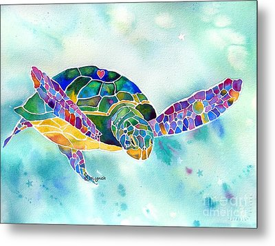 Sea Weed Sea Turtle  Metal Print by Jo Lynch