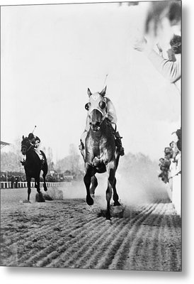 Seabiscuit Acrossing The Finish Line Metal Print by Everett