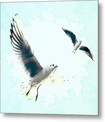 Seagulls Metal Print by Angela Doelling AD DESIGN Photo and PhotoArt