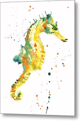 Seahorse  - Yellow Seahorse Metal Print by Alison Fennell