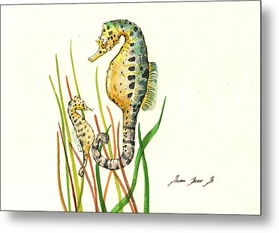 Seahorse Mom And Baby Metal Print by Juan Bosco