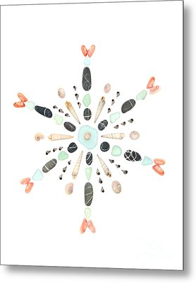 Seashell Snowflake 4 Metal Print by Jennifer Booher