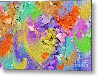 Seashell Stones And Hearts Metal Print by Kathleen Struckle