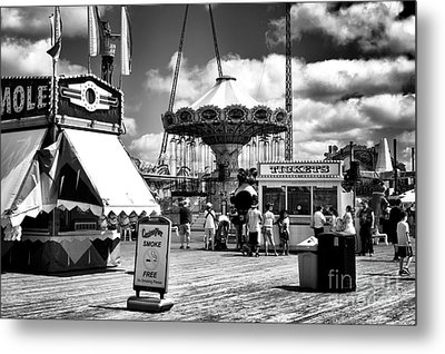 Seaside Heights Casino Pier Mono Metal Print by John Rizzuto