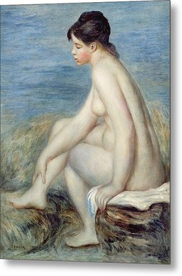 Seated Bather Metal Print by Renoir
