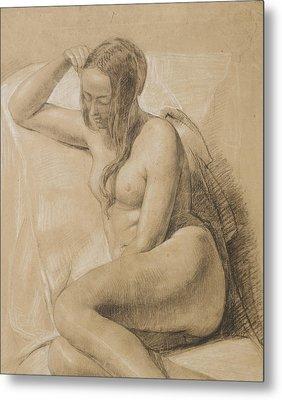 Seated Female Nude Metal Print by Sir John Everett Millais