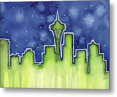 Seattle Night Sky Watercolor Metal Print by Olga Shvartsur