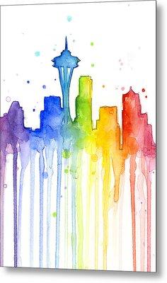 Seattle Rainbow Watercolor Metal Print by Olga Shvartsur