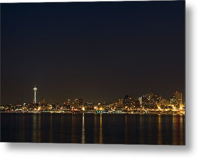 Seattle Skyline At Night Metal Print by Stacey Lynn Payne