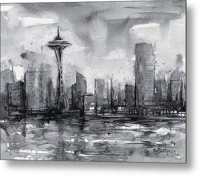 Seattle Skyline Painting Watercolor  Metal Print by Olga Shvartsur
