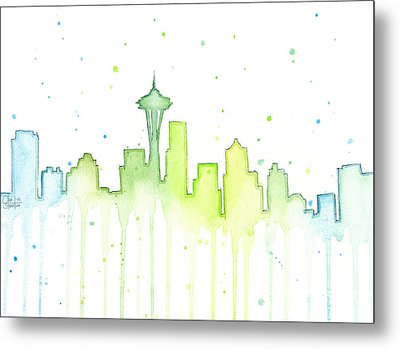 Seattle Skyline Watercolor  Metal Print by Olga Shvartsur
