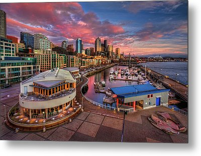 Seattle Waterfront At Sunset Metal Print by Photo by David R irons Jr