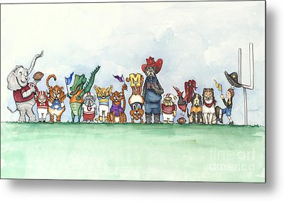 Sec Football Mascots - Sports Watercolor Print Metal Print by Annie Laurie