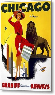 See Chicago - Braniff International Airways C. 1955 Metal Print by Daniel Hagerman