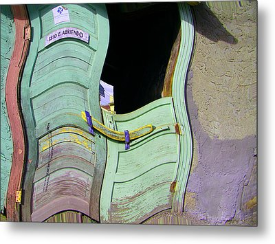 See-through Green And Red Doors Metal Print by Lenore Senior