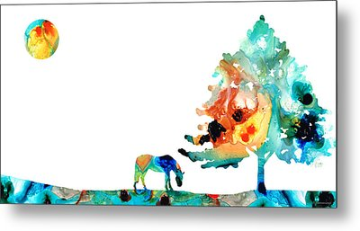 Seeking Shelter - Colorful Horse Art Painting Metal Print by Sharon Cummings