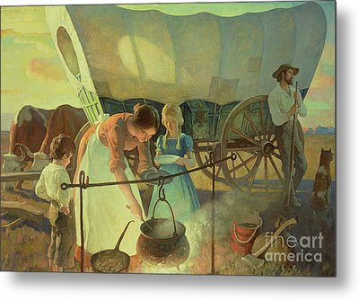 Seeking The New Home Metal Print by Newell Convers Wyeth