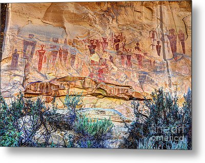 Sego Canyon Indian Petroglyphs And Pictographs Metal Print by Gary Whitton