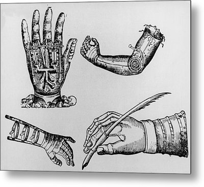 Selection Of 16th Century Artificial Arms & Hands. Metal Print by Dr Jeremy Burgess.