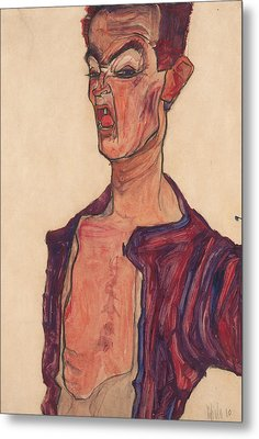 Self-portrait, Grimacing Metal Print by Egon Schiele