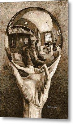 Self-portrait In Spherical Mirror By Escher Revisited Metal Print by Leonardo Digenio