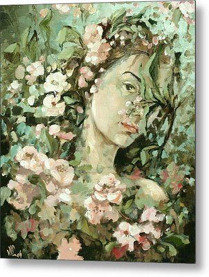 Self Portrait With Aplle Flowers Metal Print by Vali Irina Ciobanu