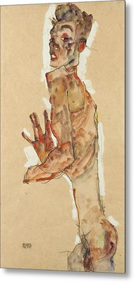 Self-portrait With Splayed Fingers Metal Print by Egon Schiele