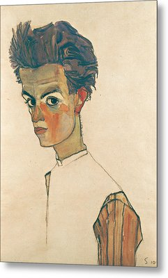 Self-portrait With Striped Shirt Metal Print by Egon Schiele