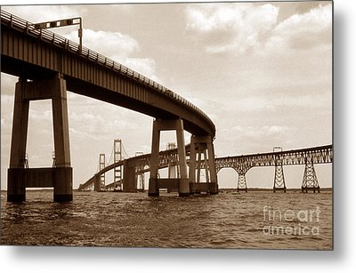 Sepia Chesapeake Bay Bridge Metal Print by Skip Willits