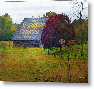 Sequoyah Caverns Sign Old Barn Metal Print by Rebecca Korpita