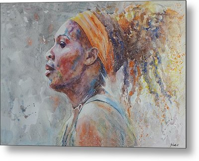 Serena Williams - Portrait 3 Metal Print by Baresh Kebar - Kibar
