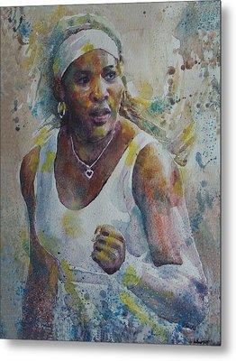 Serena Williams - Portrait 5 Metal Print by Baresh Kebar - Kibar