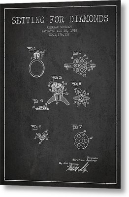 Setting For Diamonds Patent From 1918 - Charcoal Metal Print by Aged Pixel