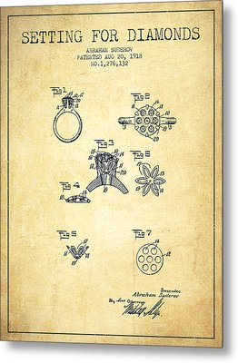 Setting For Diamonds Patent From 1918 - Vintage Metal Print by Aged Pixel