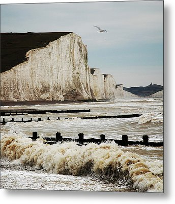 Seven Sisters Chalk Cliffs Metal Print by Peter Funnell