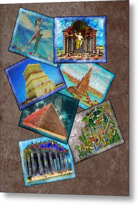Seven Wonders Of The Ancient World Metal Print by Edelberto Cabrera