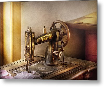 Sewing - A Black And White Sewing Machine  Metal Print by Mike Savad