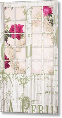 Shabby Cottage French Doors Metal Print by Mindy Sommers