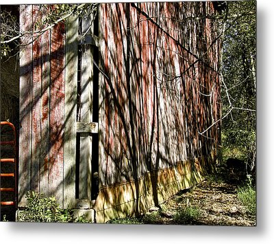 Shadows On The Barn Metal Print by Richard Gregurich