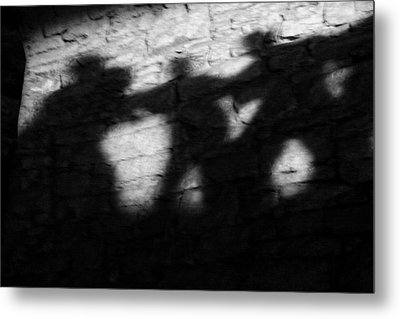 Shadows On The Wall Of Edinburgh Castle  Metal Print by Christine Till