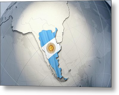 Shape And Ensign Of Argentina On A Globe Metal Print by Dieter Spannknebel