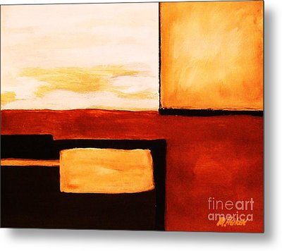 Shaped Abstract Red Tone L Metal Print by Marsha Heiken