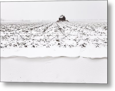 Shed On Mount In Snow, Polder The Biesbosch, Dordrecht, The Netherlands Metal Print by Frank Peters