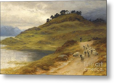 Sheep Droving In A Landscape Metal Print by Joseph Farquharson