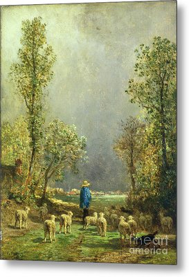 Sheep Watching A Storm Metal Print by Constant-Emile Troyon