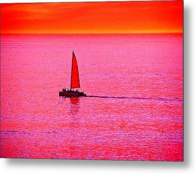 Sherbert Sunset Sail Metal Print by Michael Durst